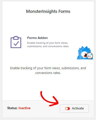 activate forms addon