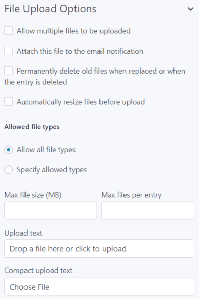 file upload settings