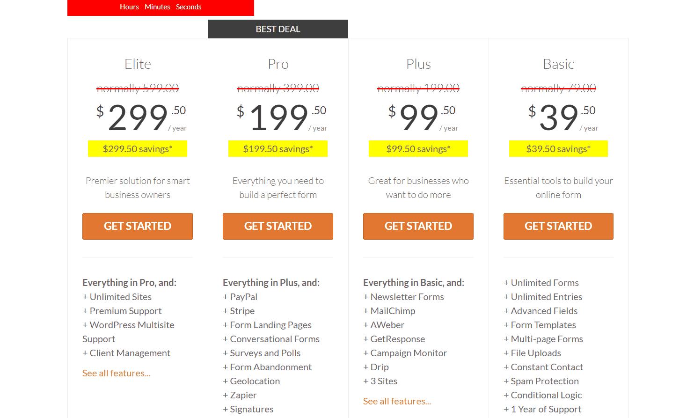 pricing of wpforms