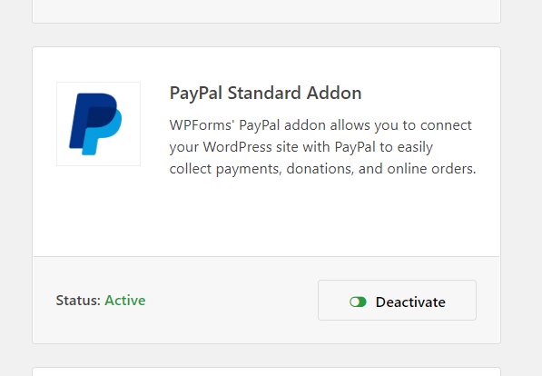 paypal addon activated