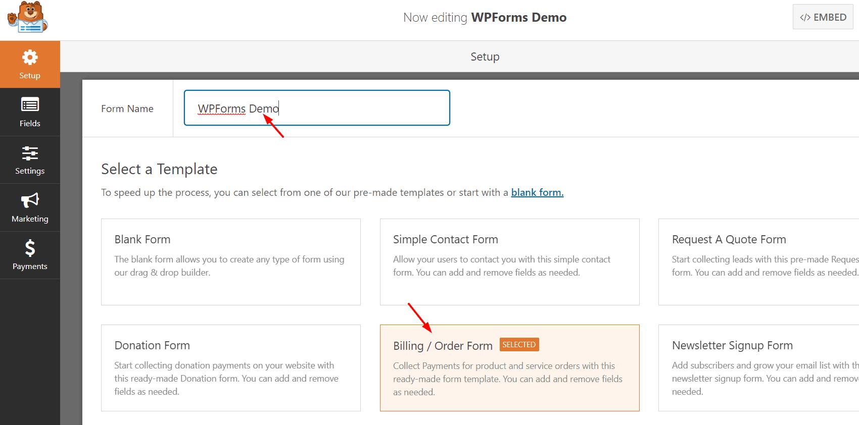 wpforms demo form