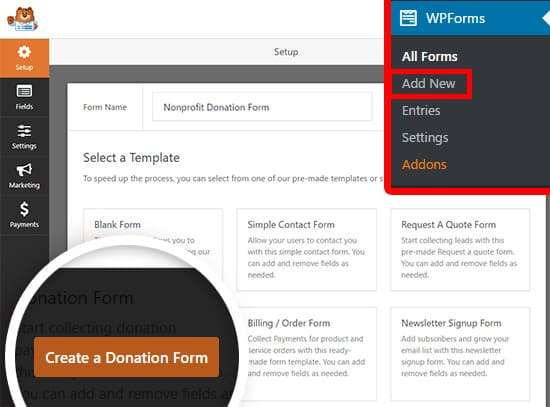 create donation form using wpforms
