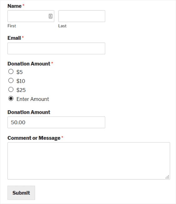 donation form live