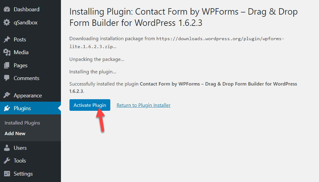 activate wpforms plugin