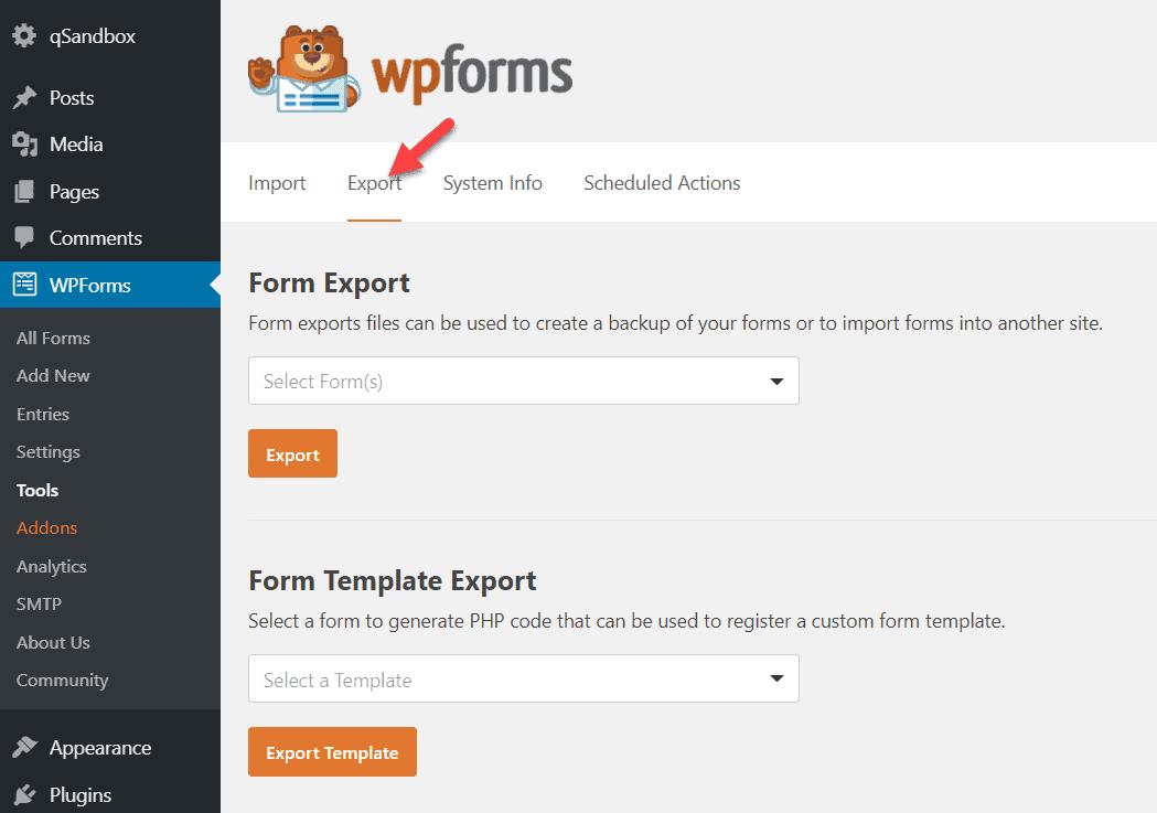 export wpforms