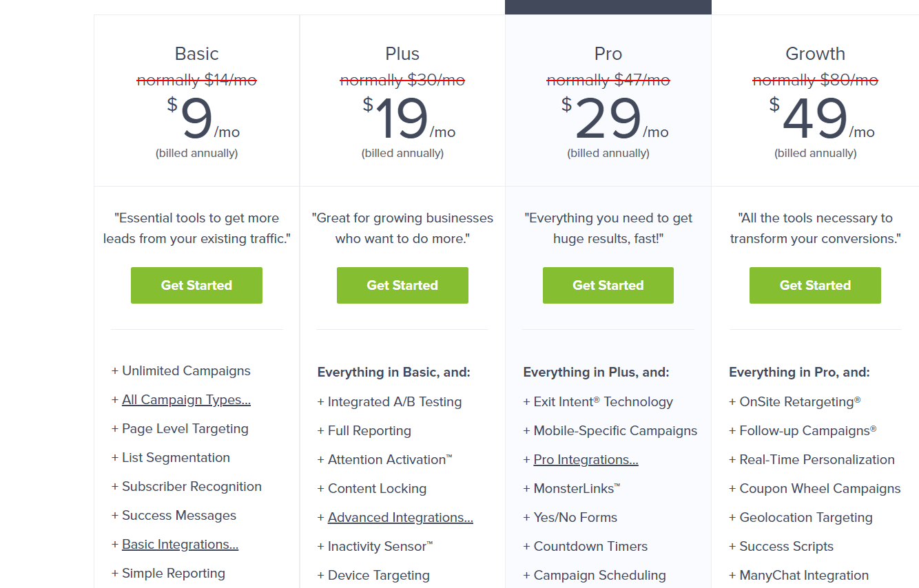 optinmonster pricing and plans