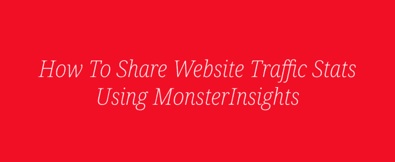 How To Share Website Traffic Stats Using MonsterInsights