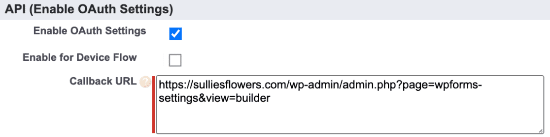 app callback URL