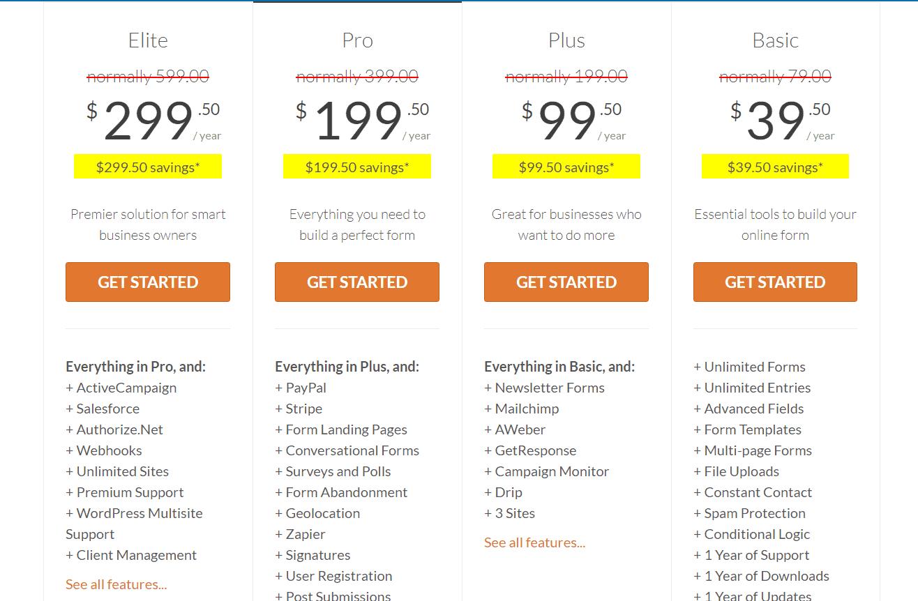 wpforms premium pricing