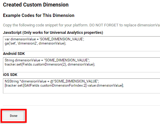 custom dimension code