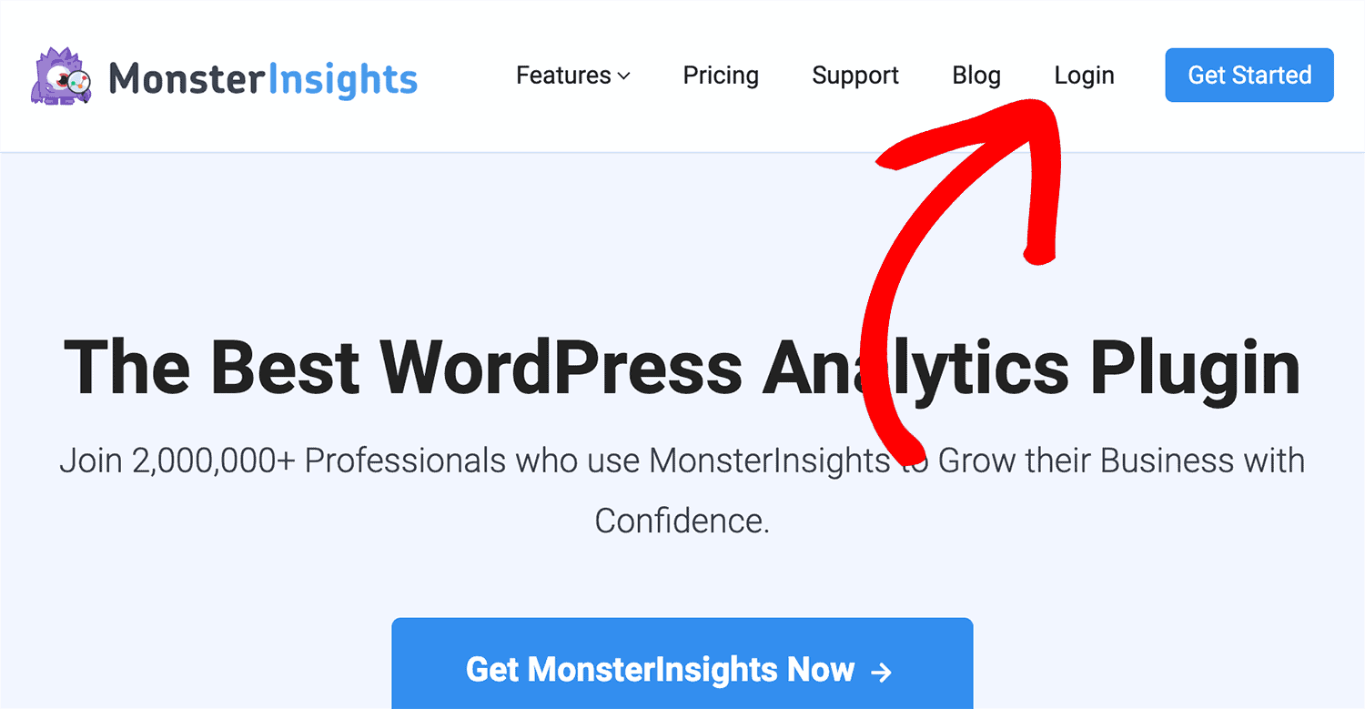 log in to monsterinsights