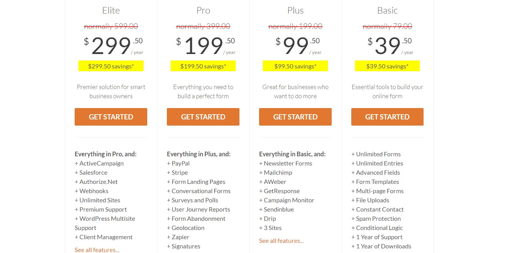 wpforms pricing